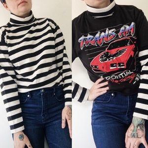 Vintage GAP Black And White Striped Turtleneck